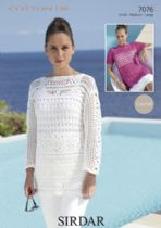 Sirdar Cotton DK Crochet Pattern - 7076 Summer Top & Jumper